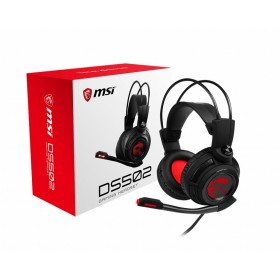 MSI DS502 7.1 Virtual Surround Sound Gaming Headset 'Black with Ambient Dragon Logo, Wired USB connector, 40mm Drivers, inline