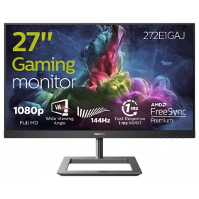 "Philips E Line 272E1GAJ 00 écran plat de PC 68,6 cm (27"") 1920 x 1080 pixels Full HD LCD Noir, Chrome"