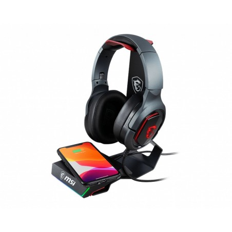 MSI HS01 Gaming Headset Stand 'Black with Red, Solid Metal Design, non slip base, Cable Organiser, Supports most headsets,