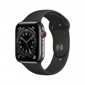 Apple Watch Series 6 GPS + Cellular, 44mm in acciaio inossidabile color grafite con cinturino Sport Nero